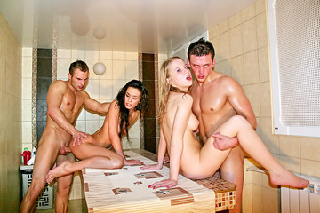 Corporate group orgy in a sauna, part 4