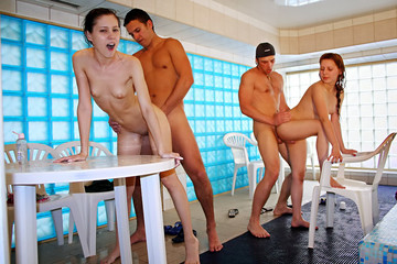 Naked girls party in a sauna, part 7